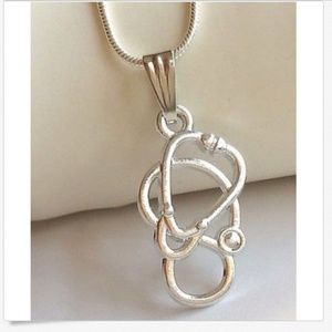 Silver Stethoscope Necklace Medical Nursing RN MD